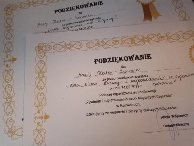 Certyfikat z konferencji żywienie w sporcie Katowice